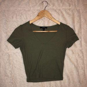 Olive green v-neck crop top